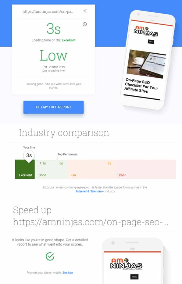 page speed test results